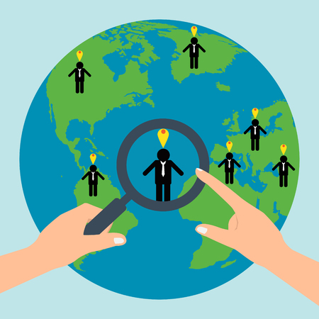 choosing: Human resources hold a magnifying glass for choosing the right personal on globe for international best position.Vector illustration recruitment and job search concept.
