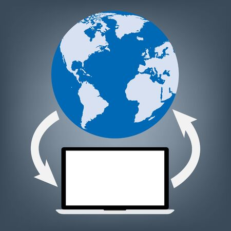 productivity system: Computer laptop connected to world map globe for upload and download data. Vector illustration cloud computing technology world connectivity concept. Illustration