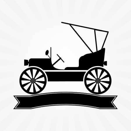 prestige car: Vintage classic car with banner text logodesign on sun rays background. Illustration