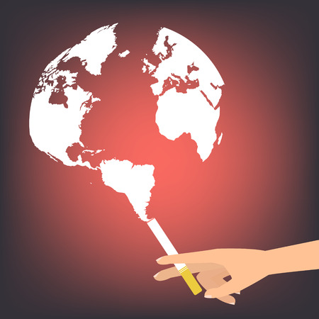 拿着与烟的人的手一支香烟喜欢在红色背景的地球世界地图。传染媒介例证平的设计世界没有烟草日概念。