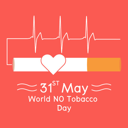 pernicious: Heart in cigarette with heartbeat signal on red background. Vector illustration flat design World No Tobacco Day concept.