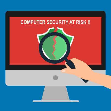 broken computer: Hand hold magnifying glass find issue of antivirus program broken showing computer security at risk massage on display screen. Vector illustration flat design technology computer security concept.