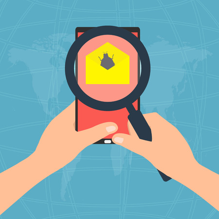 detected: Virus detected found on display screen tablet mobile phone attachment with email  and hands holding magnifying glass. Vector illustration flat design technology tablet mobile phone security concept. Illustration