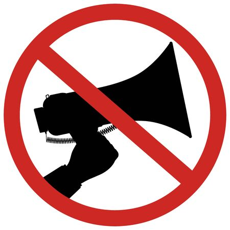 sign not to talk by phone: Prohibition of using megaphone sign for no loud sounds using a bullhorn or megaphone.