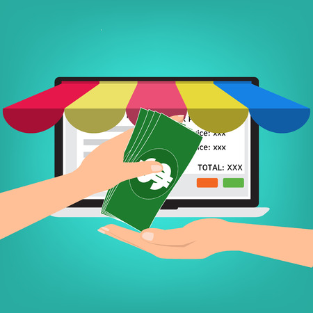 convergence: Hand give banknote money for shopping online.Vector illustration Omnichannel online marketing concept.