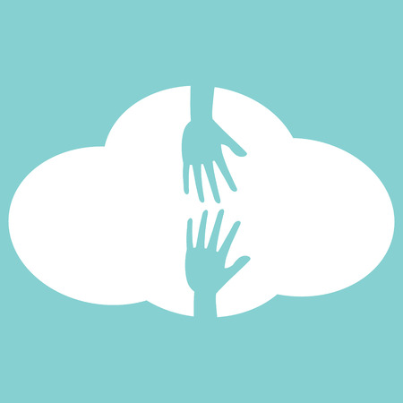 openness: Helping hand on white cloud icon. Flat design style help concept.