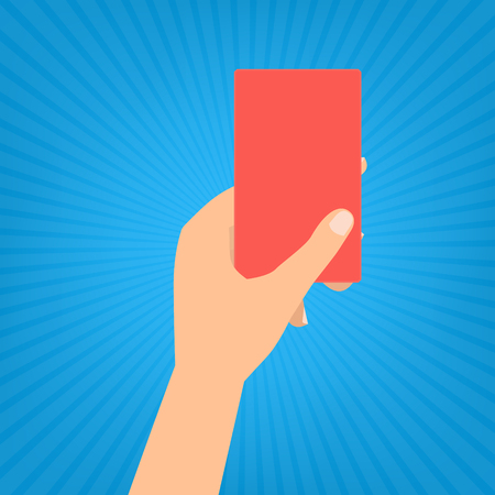 soccer referees hand with red card: Human hand holding a red card on blue sun ray background.