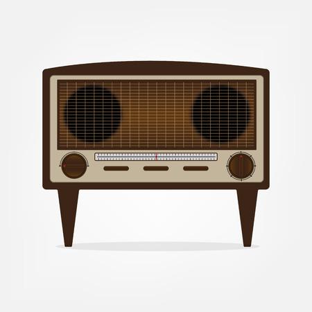 old radio: Vintage old radio brown color with shadow. Flat design vector illustration.