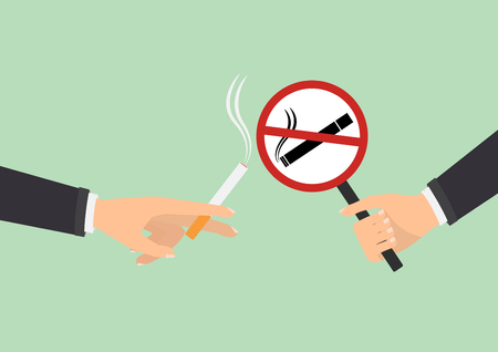 smoldering cigarette: Human hand with no smoking and human hand holding a cigarette on green background. Vector illustration flat design World No Tobacco Day concept.