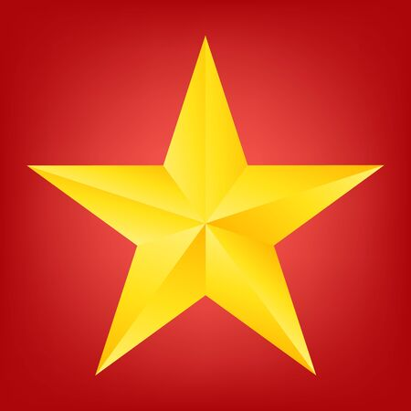 jewell: top view of Golden Christmas Star on red background. Vector illustration design. Illustration