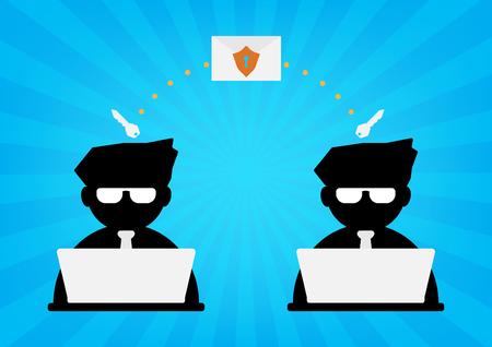llave de sol: Dos hombre de negocios con el ordenador port�til enviar datos de correo electr�nico con el escudo de protecci�n y la clave de descifrado de los rayos de sol azul en el fondo. Dise�o plano del dise�o de la seguridad cibern�tica concepto de la tecnolog�a.