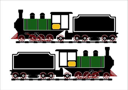 puffing: Vintage Steam engine locomotive train truck on railroad track isolated on white background.Vector illustration flat design transportation concept. Illustration