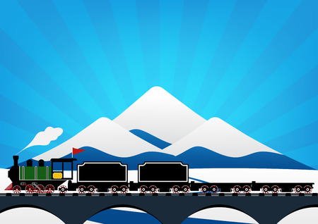 moving down: Vintage Steam engine locomotive train truck moving down railroad track on river bridge and on ice mountain with snow and sun ray in background. Vector illustration flat design transportation concept.