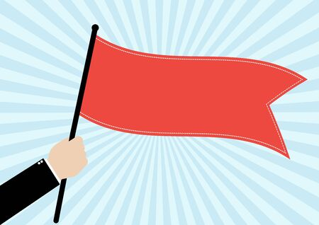 commendation: Businessman hold a red flag on bright blue sunrays background. Vector illustration business success concept design.
