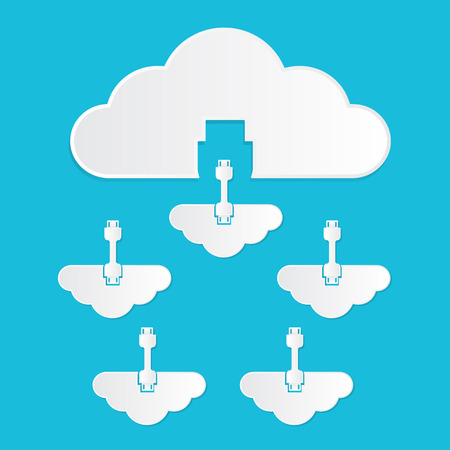 private cloud: Vector illustration of cloud computing service concept private cloud to public colud paper cut style with shadows on bright blue background.