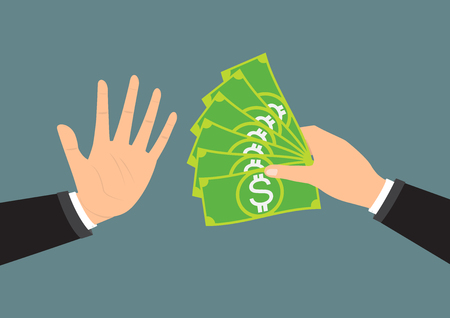faithfulness: Businessman hand refusing the offered bribe for company corruption. Vector illustration business concept design.
