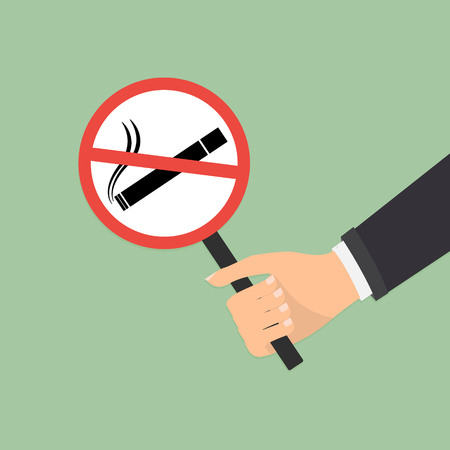 pernicious habit: Human hand with no smoking on green background. Vector illustration flat design World No Tobacco Day concept.