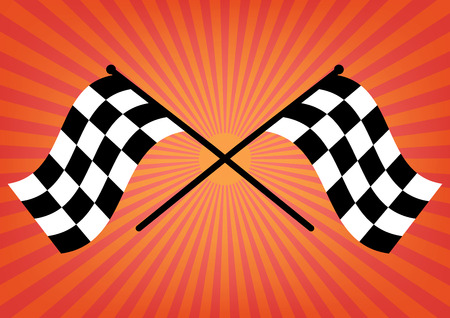 checked flag: Two finish checker flags crossed on orange sunrays background. Vector illustration victory concept design. Illustration
