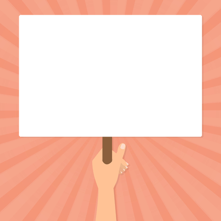 protest design: Human hand hold a blank protest signs on orange sun rays background. Vector flat design. Illustration