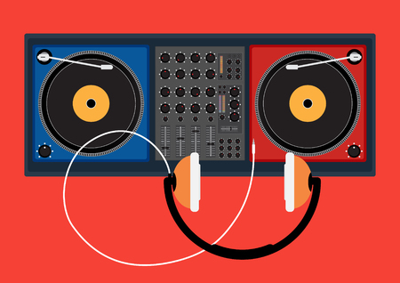 disk jockey: Disk jockey player and head phone for DJ music. Vector illustration design.