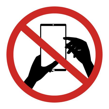 restrict: No mobile phone Texting, Text messaging sign. Vector illustration restrict sign concept design. Illustration