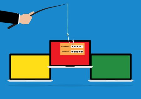 username: Hacker hold a fishhook for phishing username and password login on victim laptop notebook. Vector illustration computer security technology concept.