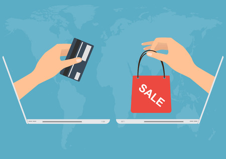 paying: Hand from laptop paying with credit card for shopping online.Vector illustration Omnichannel online marketing concept.