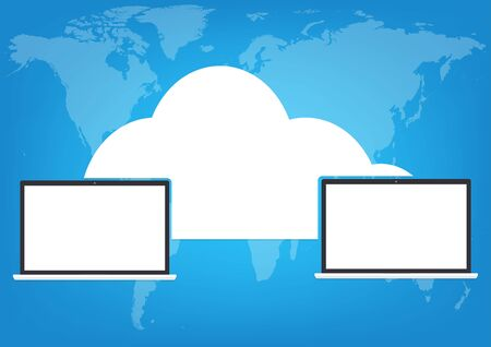 productivity system: Two computers laptop connected cloud on world map blue background. Vector illustration cloud computing technology world connectivity concept.