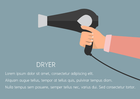 dressing treatment: Woman hand holding a hair dryer. Vector illustration flat design beauty and make up concept.