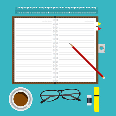 red pencil: Top view of opened notebook blank with line and red pencil on desk with equipment coffee glasses  and office item. Vector illustration flat design. Illustration
