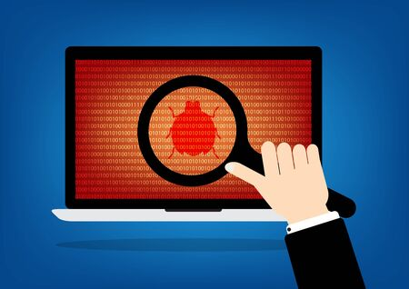 debug: Human hand hold a magnifying glass find a red malware bug computer virus on laptop notebook. Vector illustration computer security technology concept. Illustration