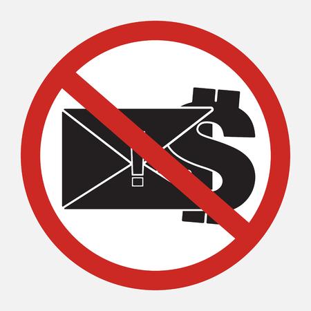 Restrict sign no blackmail ransom latter request money. Vector illustration restrict sign concept design. Illustration