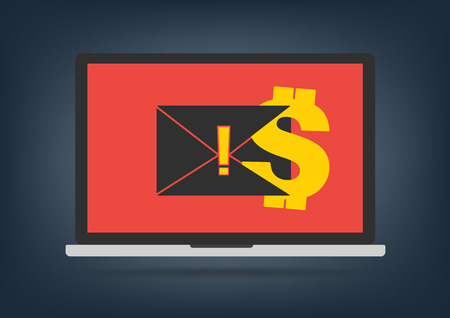 ransom: Computer laptop got blackmail ransom latter request money for paying importance data on desktop background. Vector illustration technology data privacy and security concept. Illustration