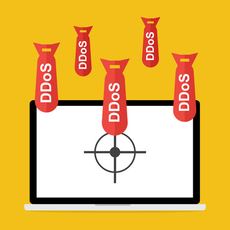 denial: Victim computer laptop with target lock has Distributed Denial of Service ddos bomb attack concept design. Vector illustration cyber crime in computer security concept. Illustration