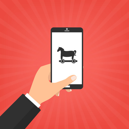 Human hand hold smart phone with Trojan horse malware computer virus. Vector illustration computer security with two factor authentication concept.