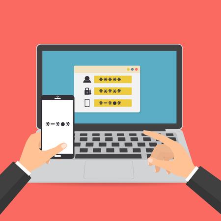 Menselijke hand houden smart phone met een sms-code voor inloggen op het systeem op de computer laptop beveiligd met een wachtwoord. Vector illustratie computerbeveiliging met twee-factor authenticatie concept.
