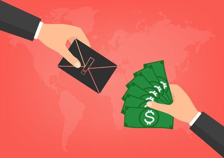 blackmail: Hacker have a blackmail ransom latter request money for paying importance data form businessman with banknote on world map background. Vector illustration technology data privacy and security concept. Illustration
