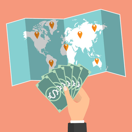 avarice: Businessman hand holding banknote on wold map background and select country for currency exchange. Vector concept design of business world money exchange.