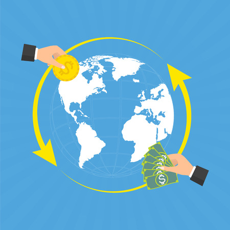 world receiver: Businessman hands with coin and banknote for currency exchange on globe background with rays. Vector concept design of business world money exchange. Illustration