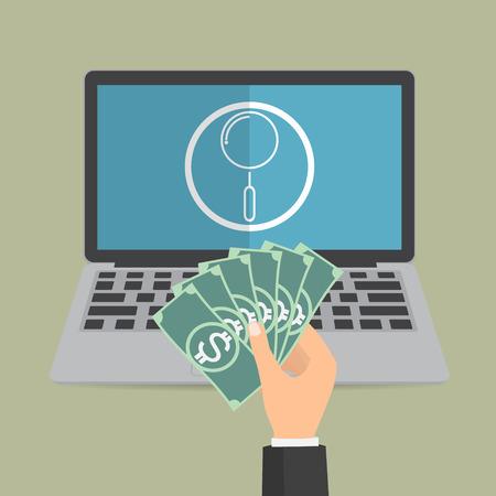 budget repair: Payment for computer online diagnostic repair. Vector concept design of business online payment.