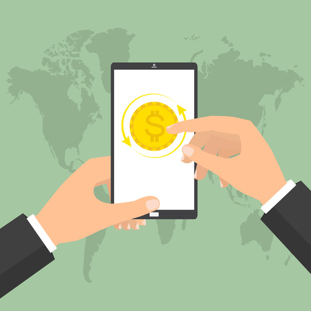 avarice: Businessman hand holding smart phone mobile for online currency exchange. Vector concept design of business world money exchange.