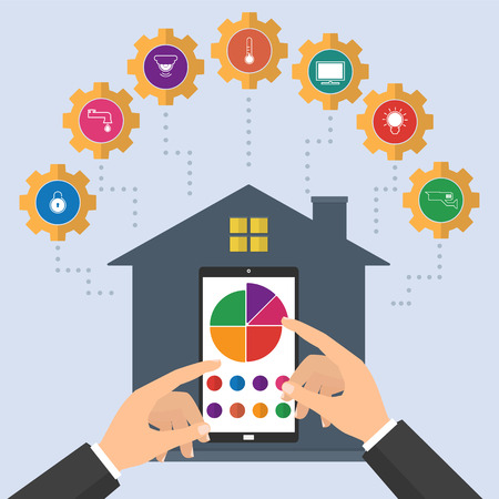Hand pointing to smartphone tablet with smart home application. Flat design style vector illustration concept of smart house technology system with centralized control.
