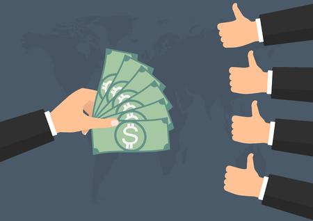 Businessman thump up like vote for banknote money paying on world background. Vector illustration business concept design. Illustration