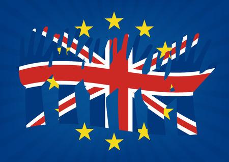 bandera de gran bretaña: Levantar las manos con banderas del Reino Unido sobre la bandera de la Unión Europea con los rayos de sol de fondo para ilustrar las salidas de Gran Bretaña de la UE. Ilustración del vector de Brexit concepto de diseño.