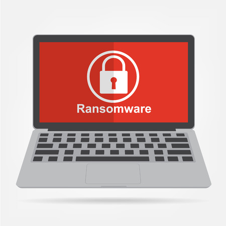 malware: Computer laptop with ransomware malware virus key icon on red display background. Vector illustration technology data privacy and security concept. Illustration