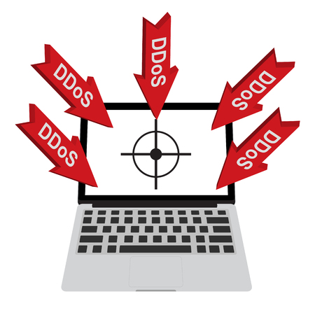 denial: Victim computer laptop with target lock has Distributed Denial of Service ddos attack concept design. Vector illustration cyber crime in computer security concept. Illustration