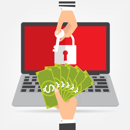 Businessman hand holding money banknote for paying the key from hacker for unlock laptop got ransomware malware virus computer. Vector illustration technology data privacy and security concept.