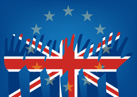 raise: Raise hands flag of the United Kingdom on European Union flag. Vector illustration of to illustrate the exits of great Britain from EU Brexit concept design.