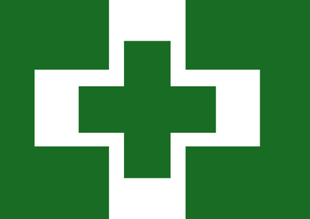 cultural: Vector of Japanese cultural flag of safety and health green cross over white cross on green background. Vector illustration flag design.