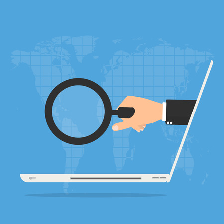 crime prevention: Businessman hand with magnifying glass from laptop computer on world map background. Online Scam business concept. Illustration